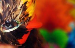 Młoda kobieta z kolorową piórkową karnawałową twarzy maską na jaskrawym kolorowym tle, kontakt wzrokowy, uzupełniał artysty obraz stock