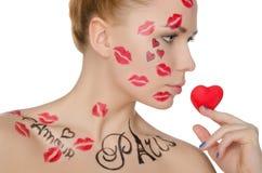 Młoda kobieta z makijażem na temacie Francja Zdjęcie Stock