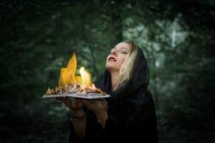 Młoda kobieta z płonącą książką w lesie Zdjęcia Stock