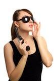 Młoda kobieta z pistoletem Obraz Stock