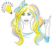 Młoda kobieta z pomysłem odizolowywającym na białym tle dobry pomysł również zwrócić corel ilustracji wektora Fotografia Stock