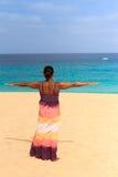 Młoda kobieta z rękami podnosić Fotografia Royalty Free