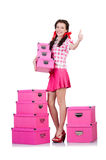Młoda kobieta z składowymi pudełkami Fotografia Royalty Free