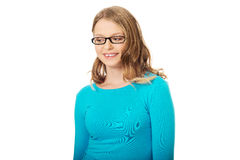 Młoda kobieta z toothy uśmiechem Fotografia Royalty Free