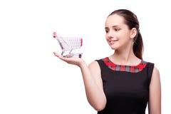 Młoda kobieta z wózek na zakupy odizolowywającym na bielu Obrazy Stock