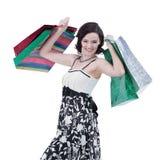 Młoda kobieta z zakupy Fotografia z kopii przestrzenią Zdjęcie Royalty Free