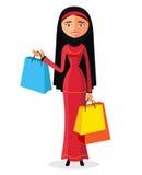 Młoda kobieta zakupy kreskówki wektoru płaska ilustracja EPS10 pojedynczy białe tło Obrazy Stock