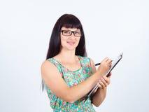Młoda kobieta znak dokument zdjęcia stock