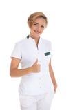 Młoda kobiety lekarka odizolowywająca nad biały tłem zdjęcia stock
