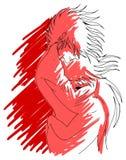 Młoda kochająca para w czerwonych brzmieniach Zdjęcia Stock