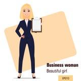 Młoda kreskówka bizneswomanu pozycja Piękna blondynki dziewczyna w biurze odziewa pokazywać listę kontrolną ilustracji