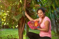 Młoda latynoska dziewczyna w cacao żniwie obraz stock