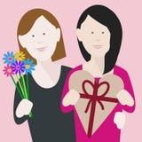 Młoda lesbian valentines para w miłości zdjęcie stock