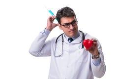 Młoda męska kardiolog lekarka trzyma serce odizolowywający na bielu Obrazy Royalty Free
