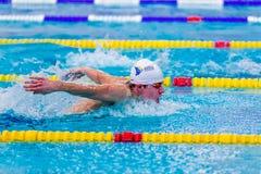 Młoda męska pływaczki atleta pływa motyliego uderzenia w basenie Fotografia Stock