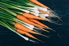 Młoda marchewka i cebula Gotować z świeżymi warzywami Fotografia Stock