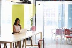 Młoda murzynka pracuje samotnie w biurowym spotyka terenie obraz stock