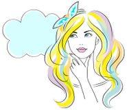 Młoda myśląca kobieta odizolowywająca na białym tle również zwrócić corel ilustracji wektora Obraz Stock