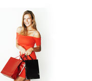 Młoda nowożytna blond kobieta z różnorodny toreb pozować emocjonalny na białym tle, sprzedaż, stylu życia pojęcia ludzie Zdjęcie Stock