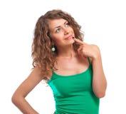 młoda odosobniona myśląca kobieta Fotografia Royalty Free
