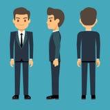 Młoda osoba mężczyzna w trzy punktach widzenia w biznesie, biuro wektoru odzieżowy set Zdjęcie Stock