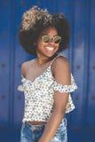 Młoda piękna afro amerykańska kobieta w okularów przeciwsłonecznych ono uśmiecha się Zdjęcie Royalty Free