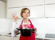 Młoda piękna domu kucharza kobieta w czerwonym fartuchu przy domową kuchnią Obrazy Royalty Free