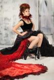 Młoda piękna dziewczyna w postaci złej czarodziejki Fotografia Royalty Free