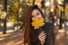 Młoda piękna elegancka szczęśliwa dziewczyna trzyma złotego jesień liść blisko twarzy z uśmiechem w modnym zielonym żakiecie zdjęcia royalty free