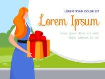 Młoda Piękna Imbirowa kobieta Trzyma Dużego prezenta pudełko ilustracja wektor