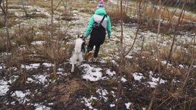 Młoda piękna kobieta chodzi z jej Łuskowatym psem przy zimą wokoło lasowego zwolnionego tempa zdjęcie wideo