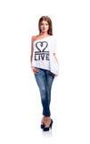Młoda piękna kobieta w białej koszulce, studio strzał, Zdjęcie Royalty Free