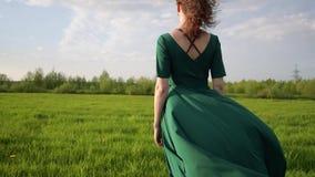Młoda piękna kobieta w pięknej sukni stoi w polu przy zmierzchem zdjęcie wideo