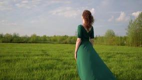 Młoda piękna kobieta w pięknej sukni stoi w polu przy zmierzchem zbiory wideo