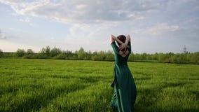 Młoda piękna kobieta w pięknym smokingowym odprowadzeniu wokoło pola przy zmierzchem zdjęcie wideo