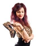 Młoda piękna kobieta z butami zdjęcia stock
