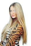 Młoda piękna kobieta z długie włosy. Portret fotografia royalty free