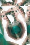 Młoda piękna kobieta z jaskrawym colorfull makeup odizolowywającym na białym tle obraz royalty free