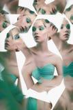 Młoda piękna kobieta z jaskrawym colorfull makeup odizolowywającym na białym tle zdjęcie royalty free