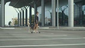 Młoda piękna kobiety jazda na deskorolka lub longboard na ulicie z jej łuskowatym psem zbiory