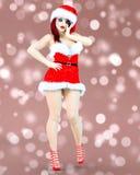 Młoda piękna Santa dziewczyna z lali twarzą royalty ilustracja