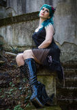 Młoda piękna szpilka w górę splendor dziewczyny z zielonego koloru włosy, wysokim Obraz Royalty Free