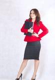 Młoda pomyślna biznesowa dama w klasycznym kostiumu Obrazy Royalty Free