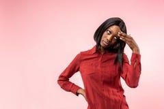 Młoda poważna rozważna biznesowa kobieta Wątpliwości pojęcie fotografia stock