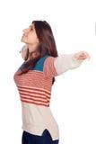 Młoda przypadkowa kobieta przedłużyć ona ręki Zdjęcia Stock