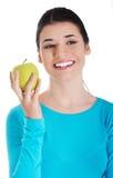 Młoda przypadkowa kobieta trzyma jabłka. Obrazy Royalty Free