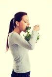 Młoda przypadkowa kobiety łasowania baranka sałata Zdjęcie Stock