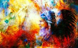 Młoda rodzima indyjska kobieta jest ubranym wspaniałego piórkowego pióropusz z dwa koniem i pozaziemski astronautyczny tło, Obraz Stock