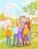 Młoda rodzina z dziećmi i ich przyjaciółmi ilustracja wektor