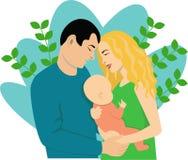 Młoda rodzina z małym dzieckiem royalty ilustracja